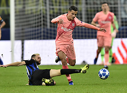 MILAN, Nov. 7, 2018  FC Barcelona's Coutinho (R) vies with FC Inter's Marcelo Brozovic during the UEFA Champions League Group B match between FC Inter and FC Barcelona in Milan, Italy, on Nov. 6, 2018. The match ended with 1-1 draw. (Credit Image: © Augusto Casasoli/Xinhua via ZUMA Wire)