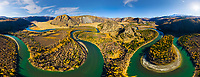 Aerial view of Chuya river crossing landscape, Russia.