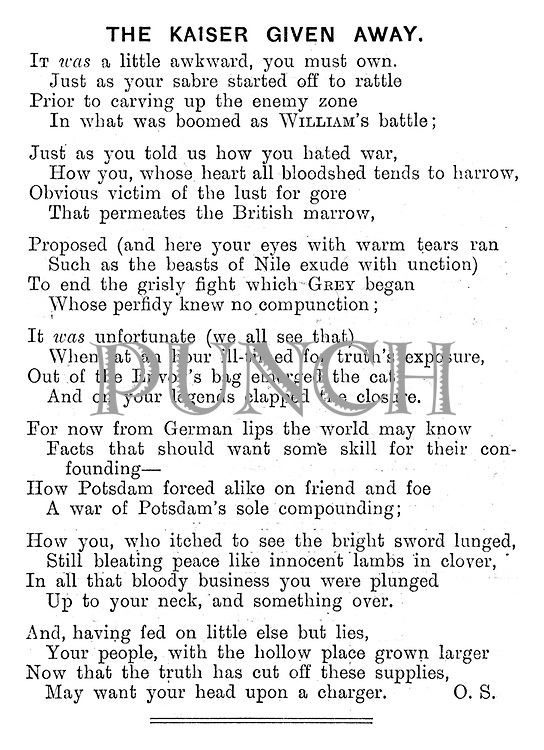 The Kaiser Given Away. (poem)