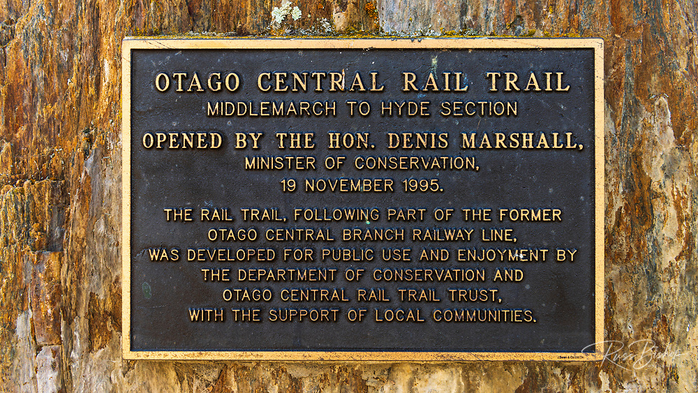 Historic plaque at the start of the Otago Central Rail Trail, Middlemarch, Otago, South Island, New Zealand