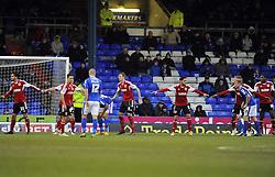 Bristol City line up to defend a corner - Photo mandatory by-line: Joe Meredith/JMP - Tel: Mobile: 07966 386802 08/02/2014 - SPORT - FOOTBALL - Oldham - Boundary Park - Oldham Athletic v Bristol City - Sky Bet League One