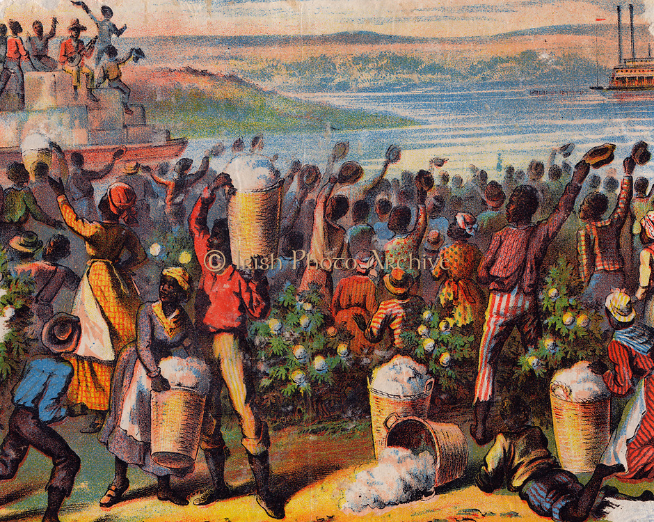 'Uncle Tom's Cabin' by Harriet Beecher Stowe. Slaves cheeering steamer taking bales of cotton down the Mississippi.