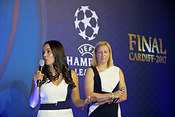 CARDIFF, WALES - Wednesday, August 31, 2016: Former Wales player Gwennan Harries and Wales team manager Jayne Ludlow during a gala dinner at the Cardiff Museum to launch the UEFA Champions League Finals 2017 to be held in Cardiff. (Pic by David Rawcliffe/Propaganda)