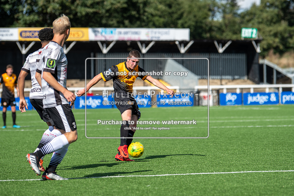 BROMLEY, UK - SEPTEMBER 08: Lee Lewis, of Cray Wanderers FC, fires Cray Wanderers in front during the Emirates FA Cup First Qualifying Round match between Cray Wanderers FC and Bedfont Sports Club at Hayes Lane on September 8, 2019 in Bromley, UK. <br /> (Photo: Jon Hilliger)