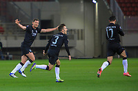 PIRAEUS, GREECE - FEBRUARY 25: Players of SL Benfica celebrate their first goal during the UEFA Europa League Round of 32 match between Arsenal FC and SL Benfica at Karaiskakis Stadium on February 25, 2021 in Piraeus, Greece. (Photo by MB Media)
