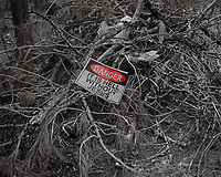 Sign in a brush pile. Image taken with a Nikon D200 camera and 18-70 mm kit lens (ISO 100, 52 mm, f/5.6, 1/250 sec).