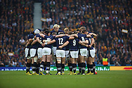 The Scottish team prior to kick off during the Rugby World Cup Quarter Final match between Australia and Scotland at Twickenham, Richmond, United Kingdom on 18 October 2015. Photo by Matthew Redman.