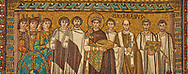 Mosaic depicting Emperor Justinian I. Byzantine Roman mosaics of the Basilica of San Vitale in Ravenna, Italy. Mosaic decoration paid for by Emperor Justinian I in 547. A UNESCO World Heritage Site .<br /> <br /> Visit our BYZANTINE MOSAIC PHOTO COLLECTION for more   photos  to download or buy as prints https://funkystock.photoshelter.com/gallery/Byzantine-Eastern-Roman-Style-Mosaics-Pictures-Images/G0000NvKCna.AoH4/3/C0000YpKXiAHnG2k<br /> If you prefer to buy from our ALAMY PHOTO LIBRARY  Collection visit : https://www.alamy.com/portfolio/paul-williams-funkystock/basilica-san-vitale-ravenna.html