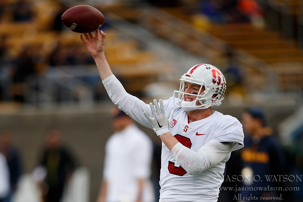 BERKELEY, CA - DECEMBER 01: Quarterback K.J. Costello #3 of the Stanford Cardinal warms up before the game against the California Golden Bears at California Memorial Stadium on December 1, 2018 in Berkeley, California. (Photo by Jason O. Watson/Getty Images) *** Local Caption *** K.J. Costello