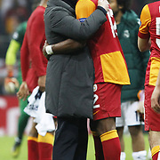 Real Madrid's coach Jose Mourinho (L) and  Tebily Didier Yves Drogba (R) during their UEFA Champions League Quarter-finals, Second leg match Galatasaray between Real Madrid at the TT Arena AliSamiYen Spor Kompleksi in Istanbul, Turkey on Tuesday 09 April 2013. Photo by Aykut AKICI/TURKPIX