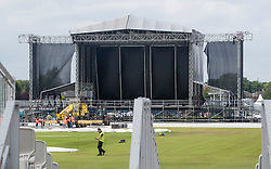 Preparations take place at the Emirates Old Trafford cricket ground ahead of Ariana Grande's One Love Manchester concert this weekend.