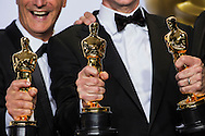 """88th Academy Awards press room.<br /> Best Sound Mixing winners Chris Jenkins, Gregg Rudolf, and Ben Oslo for the film """"Mad Max:Fury Road."""""""