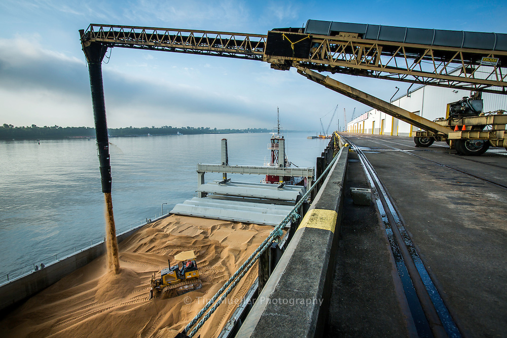 Sugar is loaded to barges on the Mississippi River at the Port of Greater Baton Rouge.