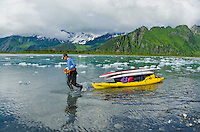 Man hauls SUPs and gear on a kayak up the feeder river to Bear Lake and Bear Glacier, Alaska.