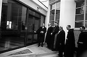 8/3/1965<br /> 3/8/1965<br /> 8 March 1965<br /> <br /> <br /> Dr. P.J. Hillery opening An Teanglann at Gormanstown College in the presence (from Left) Éamon de Valera, Cardinal Conway, His Lordship Dr. Kyne, Bishop Ceallach O'Briain