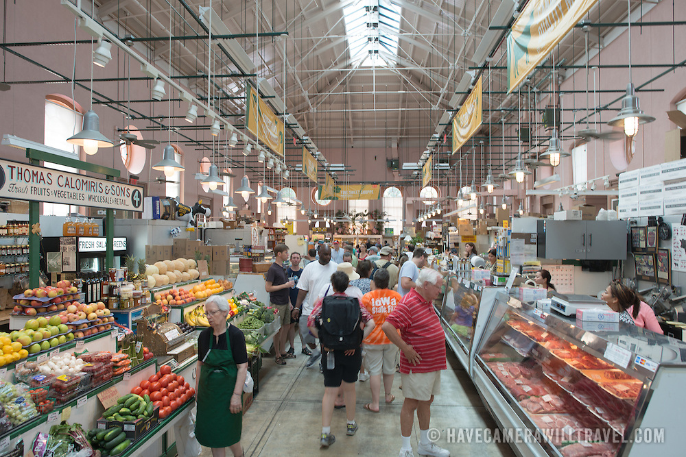 The main fresh produce hall at Eastern Market, an historic market on Capitol Hill in Washington DC. The original market building was badly damaged by fire in 2007, and the rebuilt building was reopened in 2009.