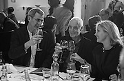 EDMUND DE WAAL, RICHARD LONG and NADJA SWAROVSKI  at the Whitechapel Gallery Art Icon 2015 Gala dinner supported by the Swarovski Foundation. The Banking Hall, Cornhill, London. 19 March 2015