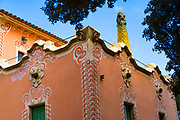Gaudi House Museum, Parc Guell, Barcelona, Catalonia, Spain. A public park design by famed Catalan architect Antoni Gaudi featuring gardens and architectural curiosities