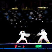 TOKYO, JAPAN - JULY 30:  Koki Kano of Japan (left) in action against Pavel Sukhov of ROC during the Japan V ROC gold medal match won by Japan 45-36  during the fencing epee team event for men at the Makuhari Messe at the Tokyo 2020 Summer Olympic Games on July 30, 2021 in Tokyo, Japan. (Photo by Tim Clayton/Corbis via Getty Images)