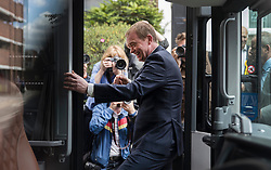 © Licensed to London News Pictures. 07/06/2017. Twickenham, UK. Liberal Democrat leader Tim Farron gets back on the Battle Bus after campaigning in Twickenham with local candidate Vince Cable on the last day of the election before the polls open. Photo credit: Peter Macdiarmid/LNP