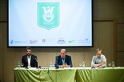 Igor Biscan, new head coach of NK Olimpija, Milan Mandaric, president of NK Olimpija and Tilen Trotovsek, PR at press conference, on June 2, 2017 in Austria Trend Hotel, Ljubljana, Slovenia. Photo by Sasa Pahic Szabo / Sportida