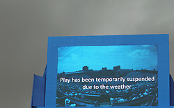 A sign showing that play has been suspended during day six of the 2017 AEGON Championships at The Queen's Club, London.