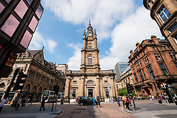 View of St George's Tron Church of Scotland and Nelson Mandela Place in central Glasgow, Scotland, United kingdom