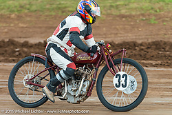 Jim Wall rides his 1928 Indian racer in the Pappy Hoel Half Mile Classic at the Sturgis Fairgrounds during the annual Sturgis Black Hills Motorcycle Rally. SD, USA. August 6, 2014.  Photography ©2014 Michael Lichter.