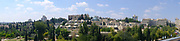 Panoramic view of Mishkenot Sha'ananim (Peaceful Dwellings) the first Jewish neighborhood built outside the walls of the Old City of Jerusalem, on a hill directly across from Mount Zion. Built in 1859–1860, it was the first area of Jewish settlement in Jerusalem outside the Old City walls,