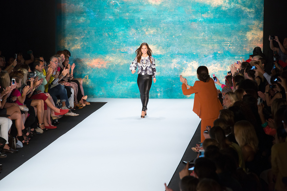 Monique Lhuiller at  the end of her show at the Spring 2013 Mercedes-Benz Fashion Week.