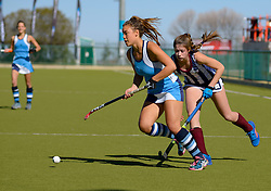 Georgia Moir(captain) of Springfield(blue) and Carli Claassen of Bloemhof during day one of the FNB Private Wealth Super 12 Hockey Tournament held at Oranje Meisieskool in Bloemfontein, South Africa on the 6th August 2016<br /> <br /> Photo by:   Frikkie Kapp / Real Time Images