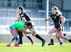 Lagi Tuima of Harlequins attempts a tackle on Ebony Jefferies of Exeter Chiefs - Mandatory by-line: Andy Watts/JMP - 06/02/2021 - Sandy Park - Exeter, England - Exeter Chiefs Women v Harlequins Women - Allianz Premier 15s