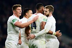 Joe Cokanasiga of England celebrates scoring a try with team mates - Mandatory by-line: Dougie Allward/JMP - 24/11/2018 - RUGBY - Twickenham Stadium - London, England - England v Australia - Quilter Internationals