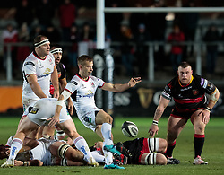 Ulster Rugby's Paul Marshall kicks clear<br /> <br /> Photographer Simon King/Replay Images<br /> <br /> Guinness Pro14 Round 10 - Dragons v Ulster - Friday 1st December 2017 - Rodney Parade - Newport<br /> <br /> World Copyright © 2017 Replay Images. All rights reserved. info@replayimages.co.uk - www.replayimages.co.uk