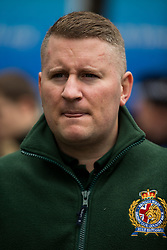 © Licensed to London News Pictures . 15/11/2014 . Kent , UK . Britain First leader PAUL GOLDING at a march by Britain First on High Street Rochester during the final weekend before the Rochester and Strood by-election . Photo credit : Joel Goodman/LNP