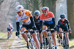 Anna van der Breggen and Lucinda Brand well positioned over the Dalakersweg cobbles - Ronde van Drenthe 2016, a 138km road race starting and finishing in Hoogeveen, on March 12, 2016 in Drenthe, Netherlands.