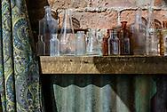 Bottles on shelf in restaurant, Leadville CO