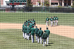 11 May 2013:  Titans celebrate near 2nd base after the 10-2 defeat during an NCAA division 3 College Conference of Illinois and Wisconsin (CCIW) Pay in Baseball game during the Conference Championship series between the North Park Vikings and the Illinois Wesleyan Titans at Jack Horenberger Stadium, Bloomington IL
