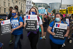 NHS staff march from St Thomas' Hospital to Downing Street to protest against the NHS Pay Review Body's recommendation of a 3% pay rise for NHS staff in England on 30th July 2021 in London, United Kingdom. The protest march was supported by Unite the union, which has called on incoming NHS England Chief Executive Amanda Pritchard to ensure that a NHS pay rise comes from new Treasury funds rather than existing NHS budgets and which is shortly expected to put a consultative ballot for industrial action to its members.