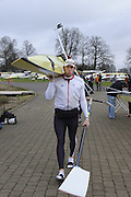 Eton, GREAT BRITAIN,  Andrew TRIGGS-HODGE, carries boat, GB Trials 3rd Winter assessment at,  Eton Rowing Centre, venue for the 2012 Olympic Rowing Regatta, Trials cut short due to weather conditions forecast for the second day Saturday  12/02/2011   [Photo, Peter Spurrier/Intersport-images]