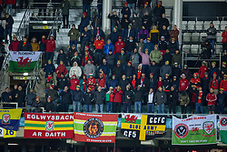 TALLINN, ESTONIA - Monday, October 11, 2021: Wales supporters during the FIFA World Cup Qatar 2022 Qualifying Group E match between Estonia and Wales at the A. Le Coq Arena. Wales won 1-0. (Pic by David Rawcliffe/Propaganda)