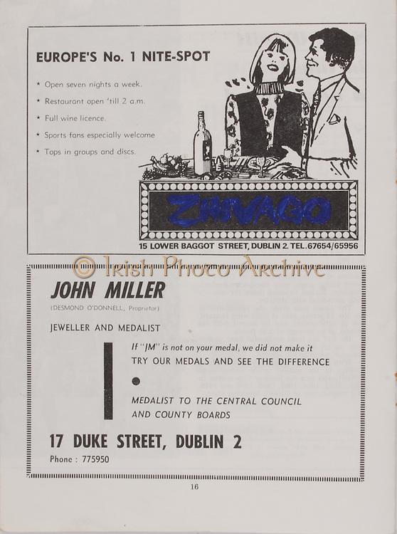 Zhivago, 15 Lower Baggot Street, Dublin 2, John Miller, 17 Duke Street, Dublin 2  Railway Cup Hurling Final. Munster v Leinster. Croke Park, Dublin. 17th March 1971. 17.03.1971.
