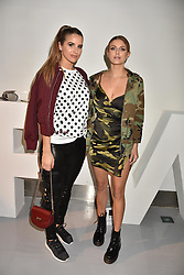 Left to right, Vogue Williams and Ashley James at the LFW Sponge Bob Gold presentation at The Atrium, The Store Studios, 180 The Strand, London England. 18 February 2017.