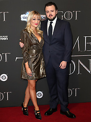 John Bradley (right) and Rebecca April May attending the Game of Thrones Premiere, held at Waterfront Hall, Belfast.