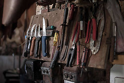 October 3, 2018 - Chania, Greece - Tools for leathers seen during the leather processing at the leather tannery..Tampakaria is an area in Chania where there are three leather tanneries. In the 50s, there were around 50 leather tanneries. From the 19th century up to the 1980s, leather industries played a special role in the Greek economy. However this industry is in constant steady decline in recent years. (Credit Image: © Nikolas Joao Kokovlis/SOPA Images via ZUMA Wire)