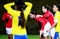 Fotball , 30. oktober 2013 , Privat kamp kvinner U23 , Norge- Sverige<br /> U23 Norway - Sweden<br /> Oda Fugelsnes (midten) , Norge har scoret og jubler samme med Melissa Bjånesøy , Norge (th)