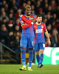 Crystal Palace's Wilfried Zaha during the Premier League match at Selhurst Park, London