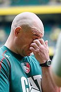 Picture by Andrew Tobin/Focus Images Ltd +44 7710 761829.25/05/2013. Leicester Director of Rugby Richard Cockerill wipes his eye during the Aviva Premiership match at Twickenham Stadium, Twickenham.
