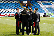 Bradford's players get a feel for the pitch before the Kingstone Press Championship match between Featherstone Rovers and Bradford Bulls at the Big Fellas Stadium, Featherstone, United Kingdom on 17 April 2017. Photo by Craig Galloway.