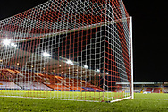 View from behind the goal before the EFL Sky Bet League 1 match between Lincoln City and Shrewsbury Town at Sincil Bank, Lincoln, United Kingdom on 15 December 2020.